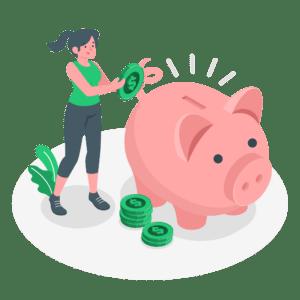 illustration-frau-wirft-geld-in-sparschwein-kredit-kosten-sparen